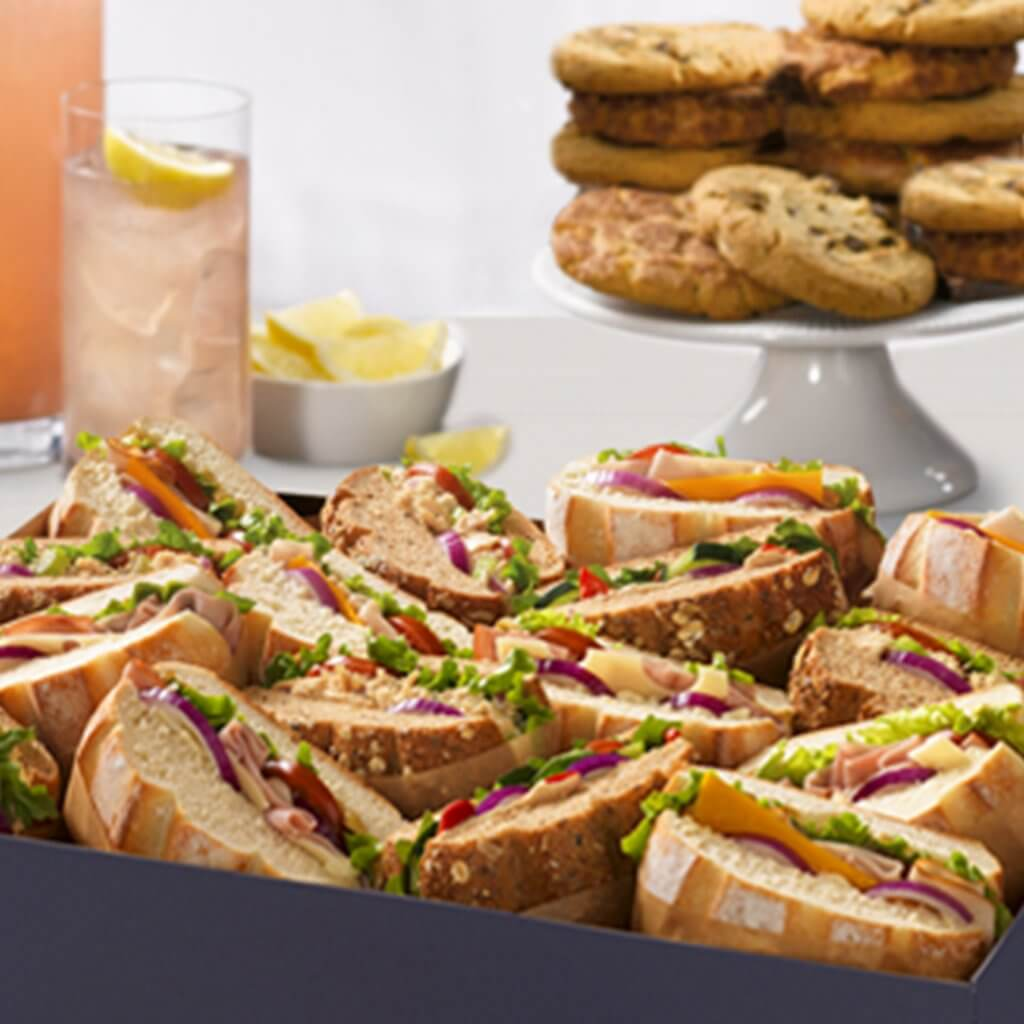 image of a box of lunch sandwiches from Noah's NY Bagels catering