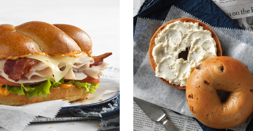 Bagel sandwich and bagel with cream cheese