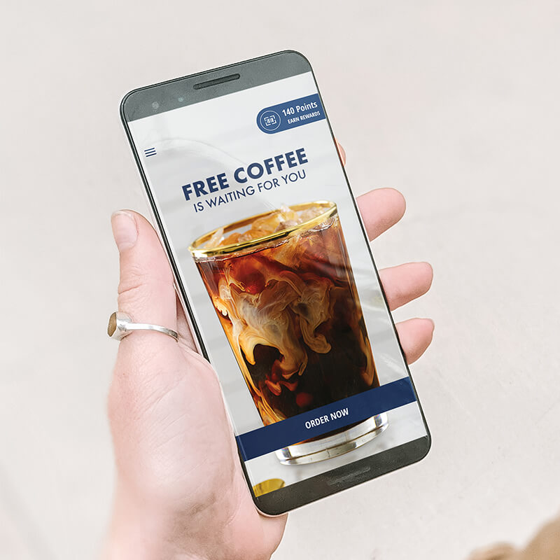IMAGE: Shows A Phone with the Noahs Rewards App in a hand.