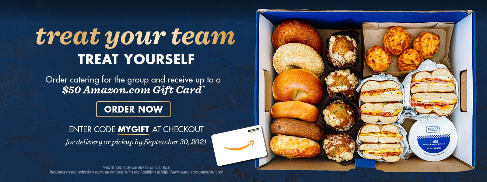 Order Noah's NY Bagels for catering and earn an Amazon gift card