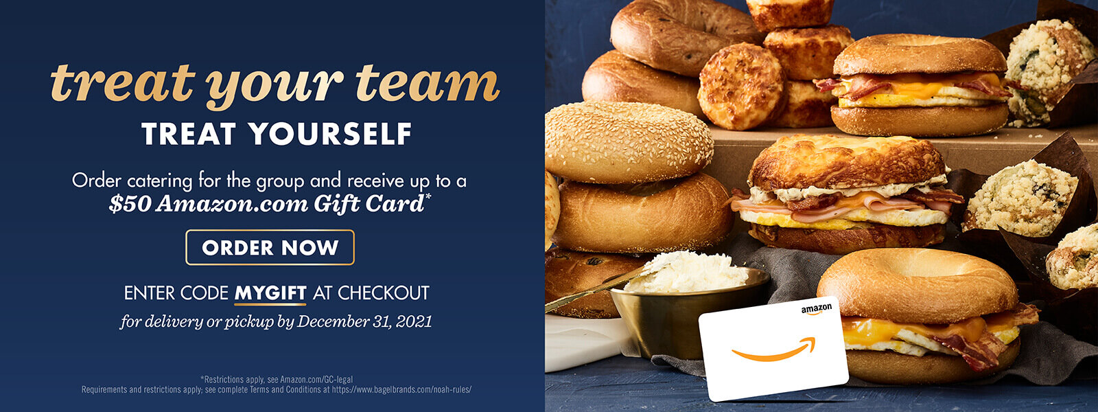 Treat your team to Noah's catering and get rewarded with an Amazon gift card