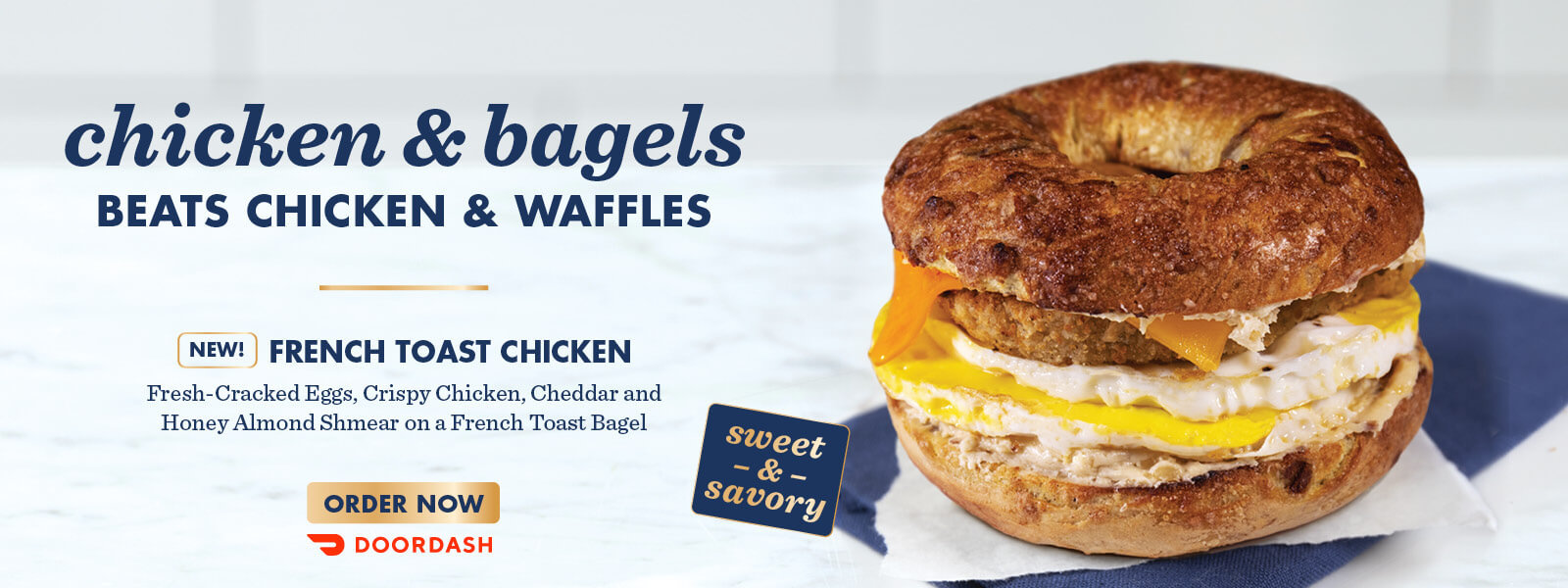 ROTATING SLIDER: Try our new French Toast Chicken Egg Sandwich! Available for a Limited Time.
